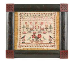 50: Silk on linen sampler, dated 1856, wrought by : Lot 50