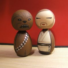 Chewbacca and Obi Wan ... Star Wars inspired Kokeshi Dolls So cute! !!!!!!!!