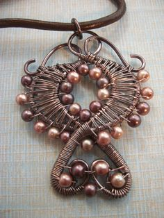 Angelic Wire Wrapped Pendant in Gun Metal by BuyThePlaceWithBeads, $25.00