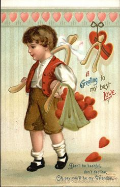 Divided Back Postcard A Greeting to My Best Love Children Victorian Valentines, Vintage Valentine Cards, Vintage Greeting Cards, Vintage Postcards, Vintage Images, Valentines For Boys, Valentine Heart, Love Holidays, Easter Art