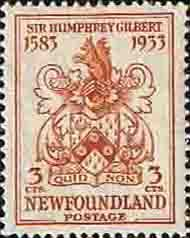 Newfoundland 1933 SG 238 Sir Humphrey Gilbert Coat of Arms Fine Mint Gilberts and Squirrels