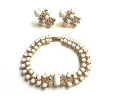 Vintage Milk Glass bracelet & earring set Art Deco by BebeAndKay, $24.00