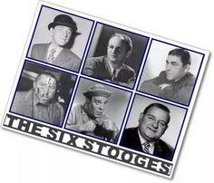The 6 Stooges. From left to right, top to bottom: Shemp Howard, Larry Fine, Moe Howard, Curly Howard, Joe Besser, and Joe DeRita.