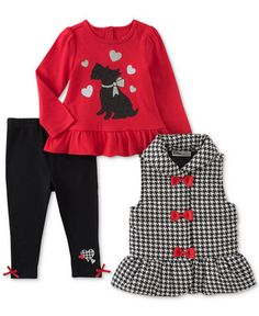 4f2a51e4788a4d Kids Headquarters 3-Pc. Houndstooth Vest, Printed Tunic & Leggings Set, Baby  Girls (0-24 months) & Reviews - Sets & Outfits - Kids - Macy's
