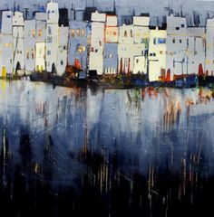 Abends in der Stadt, abstrakte Malerei Evening in the city, abstract painting - Conny Niehoff painti Contemporary Abstract Art, Abstract Landscape, Landscape Paintings, Watercolor Paintings, Modern Art, Painting Abstract, Abstract City, Modern Paintings, Painting Art