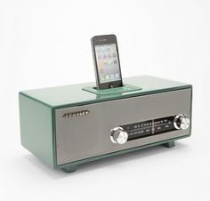Stereoluxe Vintage Radio with Dock Speaker for iPhone and iPod Touch  @Louisa Hunter ummm you and steve need this!!