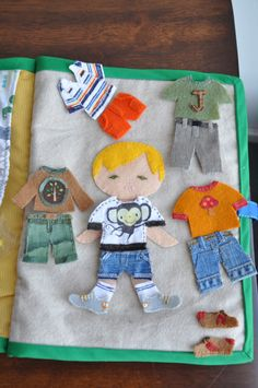 Quiet book idea: include a basic child shape, a variety of clothes (both genders) in a pocket closet/dresser, and different hairstyles maybe behind a mirror pocket?  All can attach with velcro.