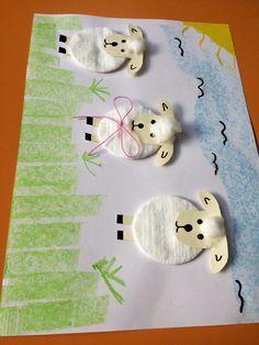 Lamb art Cotton and creativity .- Kuzucuk sanat Pamuk ve yaratıcılık. Lamb art Cotton and creativity . Kids Crafts, Easter Art, Easter Crafts For Kids, Toddler Crafts, Diy For Kids, Diy And Crafts, Arts And Crafts, Paper Crafts, Easter Bunny