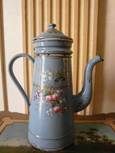 Enameled  French COFFEE POT  Blue hand painted by villavillacolle