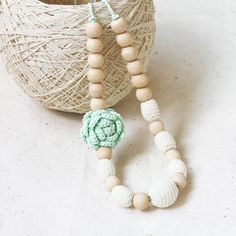 Nursing necklace with flower Mint white Boho chic Baby shower gift for mother to be New mom Kids friendly jewelry Spring fashion Summer by 100crochetnecklaces on Etsy https://www.etsy.com/se-en/listing/235098651/nursing-necklace-with-flower-mint-white