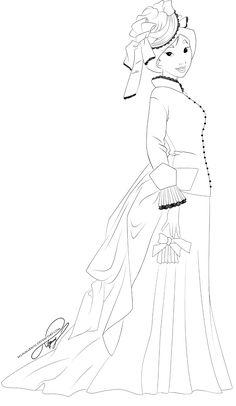 Lineart - Vintage Princess Mulan by selinmarsou.deviantart.com on @DeviantArt