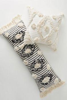 Black Pillows, Boho Pillows, Decorative Throw Pillows, Throw Pillows Bed, Decorative Accents, Diy Pillows, Black White Stripes, Black And White, Anthropologie Home