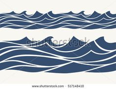 stock-vector-seamless-patterns-with-stylized-blue-waves-vintage-style-517148410.jpg (450×346)