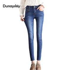 4f739f531ce High Waist Jeans Women New Autumn Stretched Denim Jean Pant Office Ladies  Bottom Skinny Pencil Pants China Clothes Plus Size