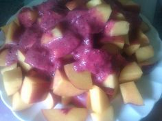 Evening fruit meal of 5 peaches and 5 nectarines with a sexy plum and cherry dressing
