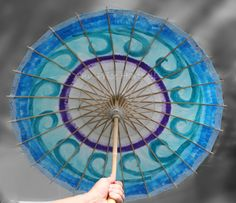 Parasol of watery blue. Paper Parasol of shimmery shades of blue. Wedding parasol beautiful for a beach wedding! Wedding Umbrella is Chinese style made of the finest handmade rice paper. Hand painted with high luster metallic paints of Sapphire Turquoise and Purple on white paper. https://www.etsy.com/listing/155094325/parasol-blue?ref=shop_home_active_17