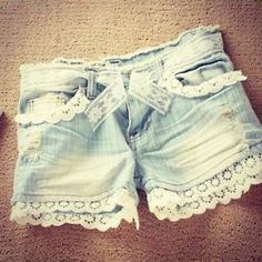 I should do this to a bunch of my old jeans I don't wear anymore. Cut them off and add lace. Cute!