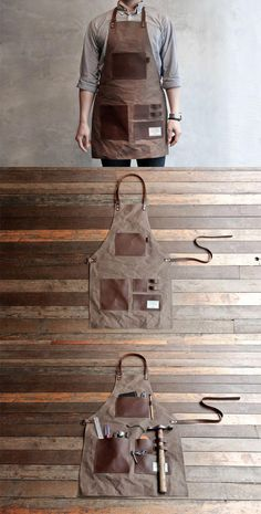 TRVR: Gentleman's Apron. Its a gentlemen's apron.but it also looks like he could wear this while sawing the bones of his victims to build a house wit Woodworking Supplies, Woodworking Projects, Sewing Projects, Woodworking Apron, Barber Apron, Shop Apron, Work Aprons, Apron Designs, Leather Apron