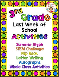 These end of year activities are easy to use and are created especially for 3rd grade (other grade levels available... click the link and find them in the product description). This end of year activity product includes a summer glyph, a STEM challenge, a flip book, letter writing templates, autograph pages, and whole class reflection exercises. Keep your students engaged in meaningful activities at the end of the school year!