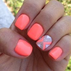 Bright orange coral Neon nail art design