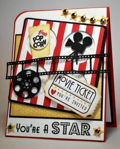 Cute card. Love the movie star theme with popcorn. Great for a child's birthday or congratulations.