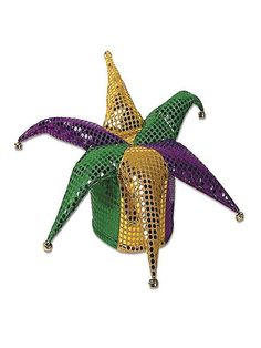 Beistle 60702 Glitz 'N Gleam Jester Hat. This is a sequined foam backed material jester hat that is one size fits most. The gold, green and purple colored fabric combination sparkle and are accented with bells on the tips. Mardi Gras Hats, Mardi Gras Outfits, Mardi Gras Costumes, Halloween Costumes, Halloween Parties, Jester Costume, Jester Hat, Party Accessories, Costume Accessories