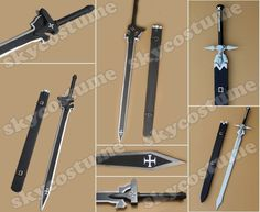 Sword Art Online fashion cool personality sword black and white version Sao Cosplay, Cosplay Sword, Cosplay Diy, Anime Cosplay, Cosplay Ideas, Anime Costumes, Movie Costumes, Cosplay Costumes, Sword Art Online Cosplay