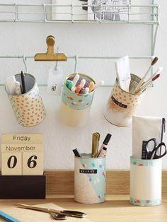 Basteln mit alten Konservendosen: So praktisch lassen sie sich am Arbeitsplatz zweitverwenden!