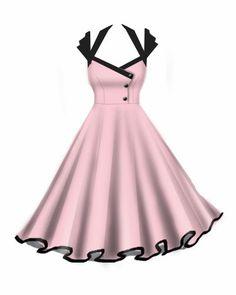 Rockabilly Retro Swing Dresses Pink and black