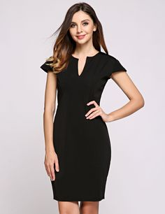 Short Sleeve V Neck Solid Back Zipper Pencil Going Out Dress
