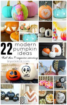 22 Modern No Carve Pumpkin Ideas!