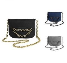 RAMPAGE Ladies RP4267 Metal Chain Shoulder Bag W/ Fold Over Flap W/ Chain Accent