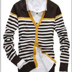 Men's Slim V-neck sweater cardigan (2 pieces)