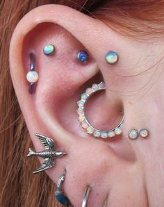 Opal Multiple Ear Piercings at MyBodiArt