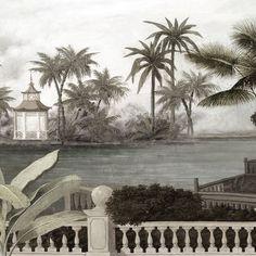 Anando Paysages en grisaille - Chao Phraya grisaille vieillie et patinée 420x265cm - Ultra mat