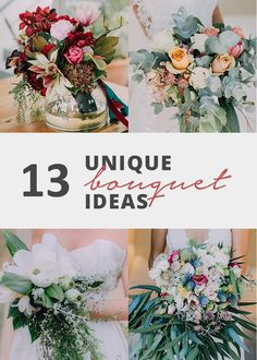 13 Beautiful and unique Bridal bouquet Ideas  Every bride is different and one way to convey your unique style is through your bouquet.   Bouquets can be anything from dramatic, bright and bold, simple and minimalistic or wild and wonderful! There are no rules when it comes to putting together a floral creation that matches your bridal style and personality.   Here are some of my favourite bouquets I've photographed. Bridal Style, Personality, Things To Come, Bright, Table Decorations, Simple, Unique, Floral, Beautiful