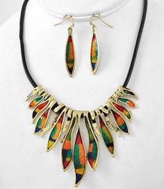 Chunky WESTERN Multicolor Ray Bib Elegant Gold Black Cord NECKLACE SET Jewelry #uniklook #necklaceearringsset