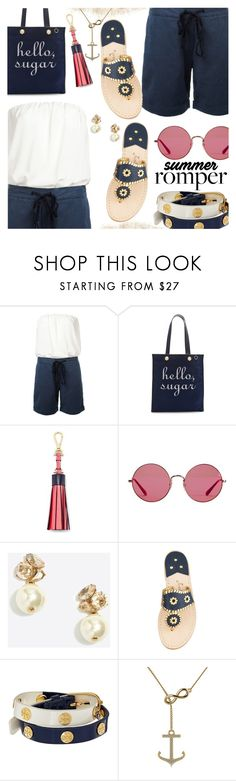 """Summer Romper"" by stacey-lynne ❤ liked on Polyvore featuring SEMICOUTURE, Draper James, Ray-Ban, J.Crew, Jack Rogers, Tory Burch and Allurez"