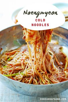You can make these restaurant favorite cold noodle dishes at home. Learn how to make two types of naengmyeon dishes – spicy and with broth. #noodles #dinner #coldnoodles #koreannoodles #koreanrecipe #koreanbapsang @koreanbapsang | koreanbapsang.com