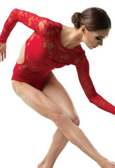 This red leotard is such a unique design, your dancers are sure to stand out! Made of sheer stretch lace, this costume features long sleeves and open back detail. Incorporates a matte lycra bandeau top and briefs. Dance Moms Costumes, Tap Costumes, Dance Outfits, Group Costumes, Red Leotard, Lace Leotard, Salsa Dress, Dance Tops, Ballroom Dance Dresses