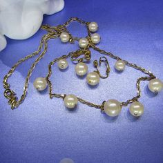 Vintage Jewelry Set Necklace and Earrings Gold Tone Simulated Pearls