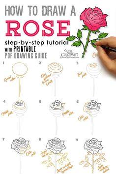Easy Flower Drawings, Flower Drawing Images, Flower Drawing Tutorials, Drawing Tutorials For Beginners, Flower Tutorial, Drawing Flowers, Art Flowers, Rose Drawings, Flower Step By Step