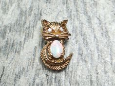 Vintage Gold Charm 14k Gold Cat Charm Opal by BelmarJewelers