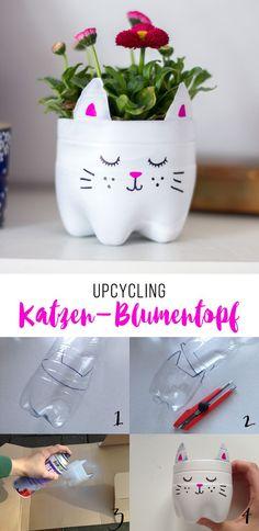 Upcycling: Katzen-Blumentopf aus einer alten Plastikflasche