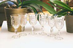 1970's Ornate Pressed Glass Floral Cordial Set of 6 / Sherry / Port / Vintage Barware / Flowers / Shot Glasses / Wedding Glasses / Wine