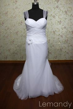 simple sweetheart mermaid tulle wedding dress with straps. $185.00, via Etsy.
