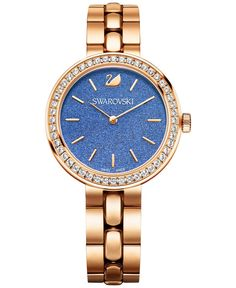 Swarovski Women's Swiss Daytime Rose Gold-Tone Stainless Steel Crystal Accent Bracelet Watch 34mm