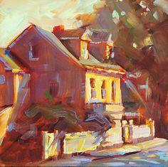 La clôture de Karen Bruson huile ~ 6 x 6