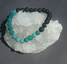 Aromatherapy lava and green agate boho bracelet.  Available at www.lavenderskyherbals.com
