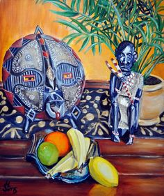 Africa African Mask Still life painting Art  Heather by 88heather, $549.00